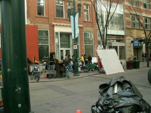 The remains of a location shoot for Nora Roberts' High Noon on St. Stephen St., Calgary, Alberta.  (Photo by Jean Marie Ward)